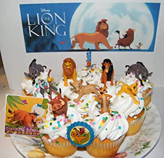 The Lion King Movie Deluxe Cake Toppers Cupcake Decorations 12 Set with 10 Figures, Movie Sticker and LKRing Featuring Simba, Scar, Hyenas and Much More!