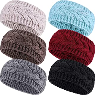 6 Pieces Winter Headbands Women's Cable Knitted Headbands, Winter Chunky Ear Warmers Suitable for Daily Wear and Sport
