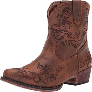 Women's Cognac Faux Leather Western Boot Round Toe
