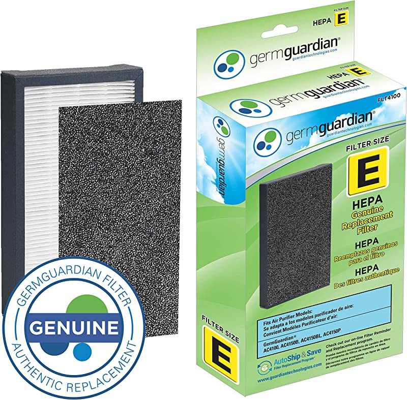 GermGuardian Air Purifier Filter FLT4100 GENUINE HEPA Replacement Filter E For AC4100 AC4100CA AC4150BL AC4150PCA Germ Guardian Air Purifiers