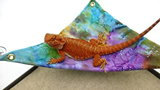 Mini-Hammock for Bearded Dragons, Watercolor Flowers Fabric with Suction Cup Hooks
