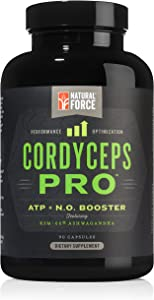 Cordyceps Pro Adaptogen Blend *Best Non-Stim Pre-Workout for Strength, Stamina, and Stress Relief* Caffeine Free with Adrenal Support from Ashwagandha, Cordyceps, and Superfoods by Natural Force, 90ct