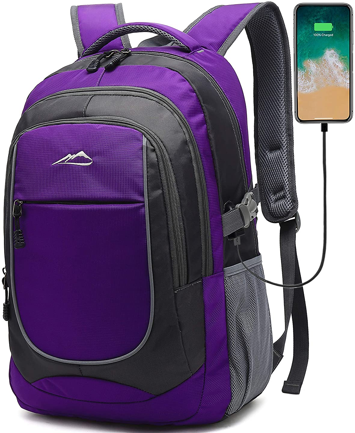 Backpack Bookbag for School Student College Business Travel with USB Charging Port Fit Laptop Up to 15.6 Inch Night Light Reflective Anti Theft (Purple)