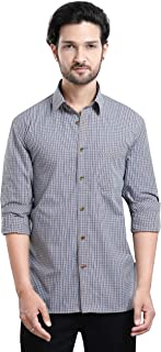 Scotfree Men's Shirt 100% Cotton Yarn Dyed Checks Slim Fit Casual Shirt (Beige/Blue)