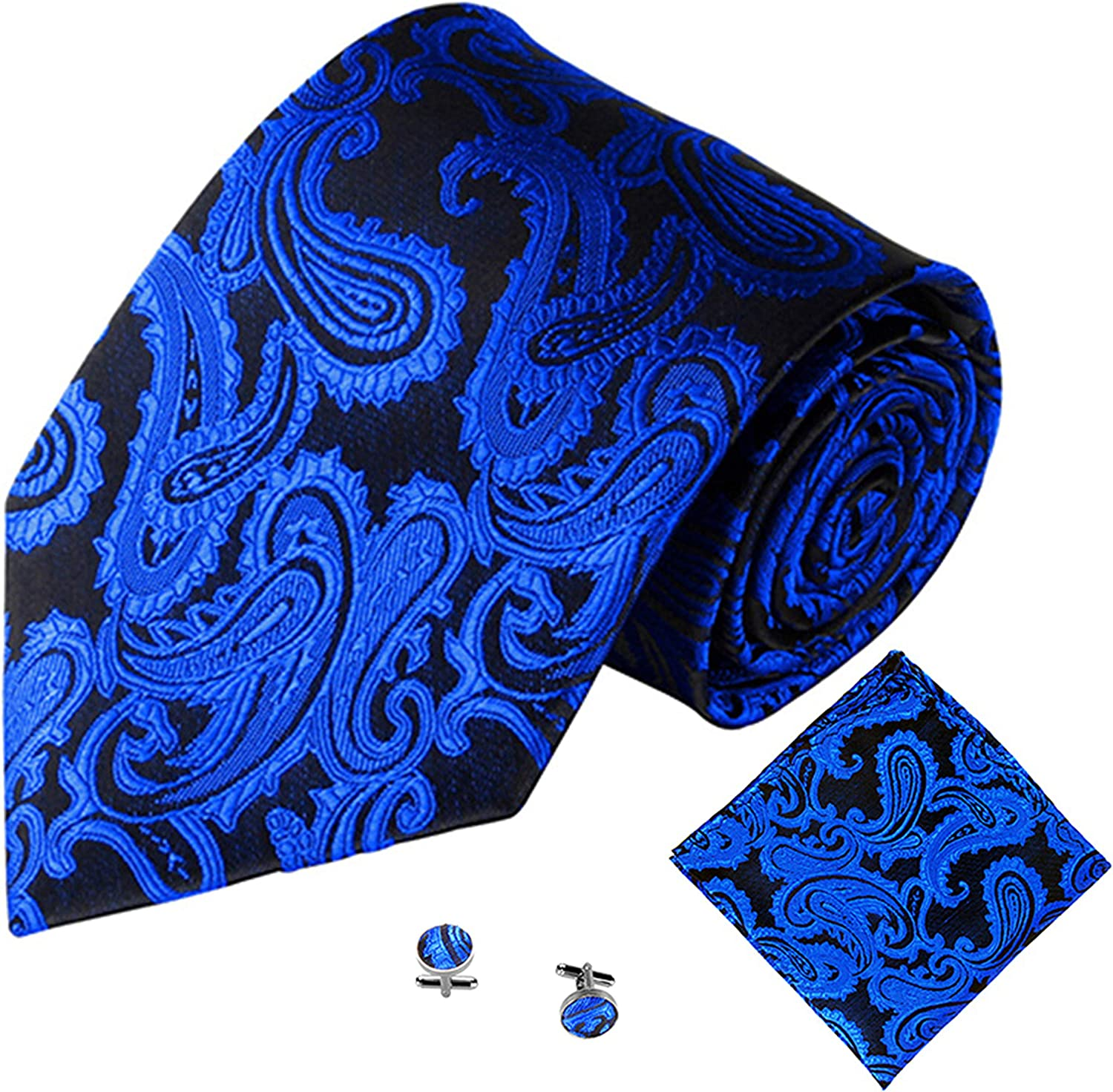 Men's Necktie set Paisley Ties with Pocket Square and Cufflinks Classic Ties for Wedding Business