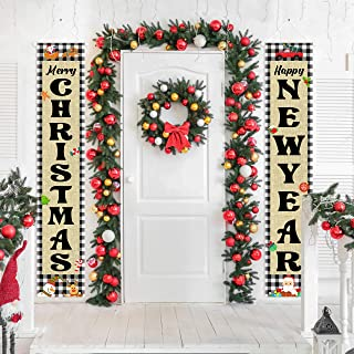 WATINC 2pcs Christmas Outdoor Banner, Merry Christmas and Happy New Year Porch Sign with Rope, Hanging Decorations with Sa...