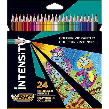 BIC Intensity Crayons de couleur Triangulaires Pointe 1,3 mm Sans Bois, en résine Résistants aux Chocs - Couleurs Assorties, Pack de 24