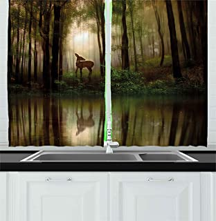Ambesonne Nature Kitchen Curtains, Baby Deer in The Forest with Reflection on Lake Foggy Woodland Graphic, Window Drapes 2 Panel Set for Kitchen Cafe Decor, 55