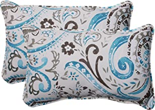 Pillow Perfect Outdoor Paisley Corded Rectangular Throw Pillow, Tidepool, Set of 2