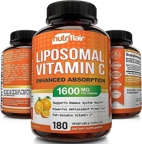 NutriFlair Liposomal Vitamin C 1400mg, 180 Capsules - High Absorption, Fat Soluble VIT C, Antioxidant Supplement, Hig...