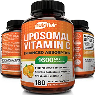 NutriFlair Liposomal Vitamin C 1600mg, 180 Capsules - High Absorption, Fat Soluble VIT C, Antioxidant Supplement, Higher B...
