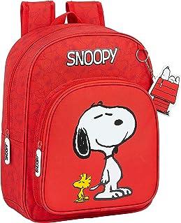 Mochila Escolar Infantil Animada de Snoopy, 260x110x340mm, rojo, m (M185)