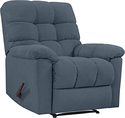 Domesis Gresham Wall Hugger Reclining Chair in Medium Blue Plush Low-Pile Velvet