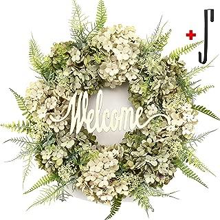 Hydrangea wreaths for front door,Outdoor summer wreaths for front door,Fall spring handmade Hello Wreath for Front Door,Farmhouse Wreath ,Rustic Wreath,Grapevine Wreath,Window Decoration (Welcome)