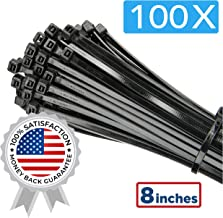 "100 Pack of Black Cable Ties - 8"" x 0.19"" - Premium Nylon Zip Ties - Heavy Duty UV and Heat Resistant Tie Wraps"