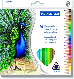 Staedtler Mars Easy Grip Triangular Barrel Pre Shaped 2.9 mm Colored Pencils Art Set, Soft Blendable Texture Perfect for Adult Coloring Books, Amateur or Professional Use, Assorted 24 Colors (1270 C24A603ID)