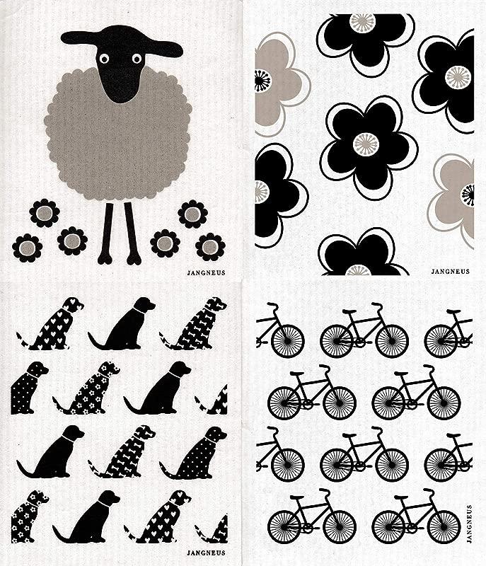 Trendy Tripper JANGNEUS Swedish Dishcloths Packs Of 4 In Shades Of Black Grey 4 Black With Sheep Dog DD