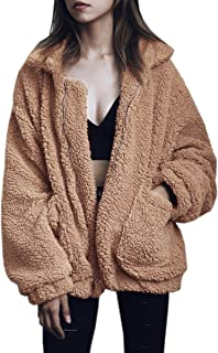 7a18fa349 ECOWISH Women's Coat Casual Lapel Fleece Fuzzy Faux Shearling Zipper Warm  Winter Oversized Outwear Jackets