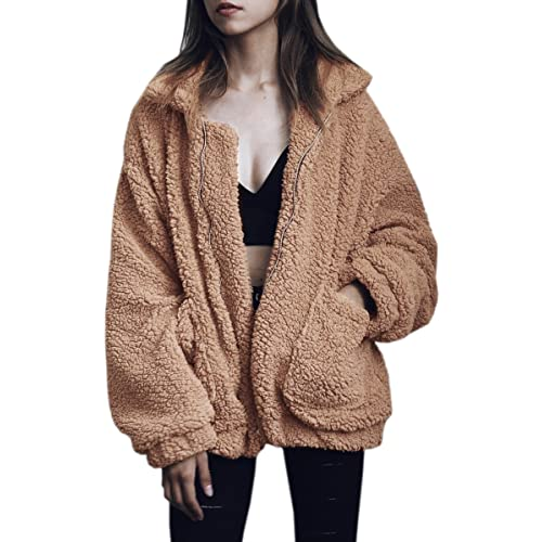 24fd8fe423f ECOWISH Women s Coat Casual Lapel Fleece Fuzzy Faux Shearling Zipper Warm Winter  Oversized Outwear Jackets