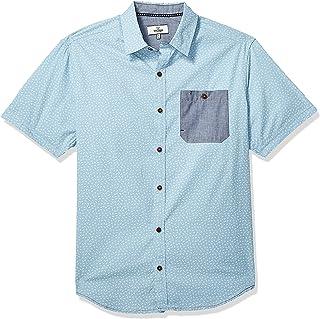 Burnside Camisa estampada de manga corta con botones para hombre