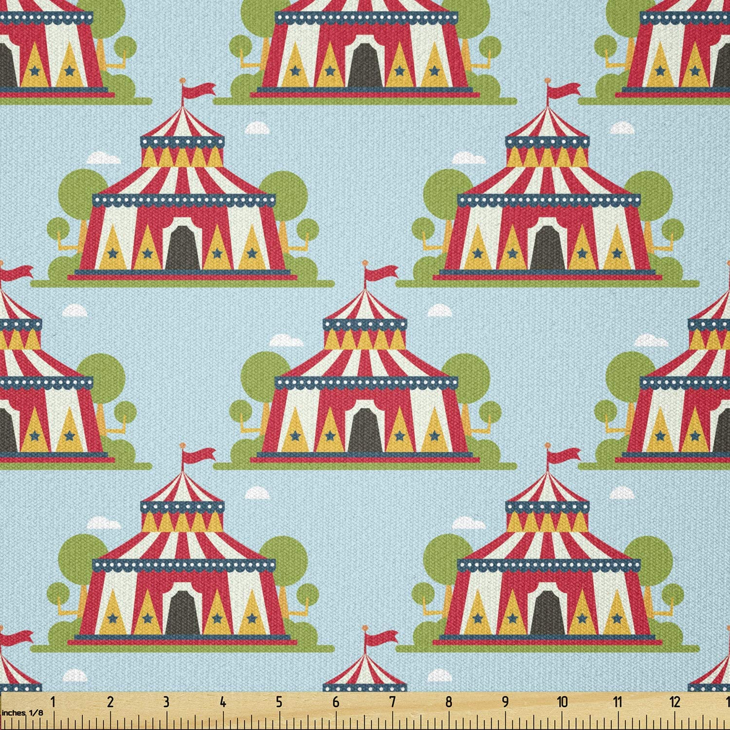 Ambesonne Circus Fabric by The Themed Pattern Ranking TOP3 Festival Yard Fun Special sale item
