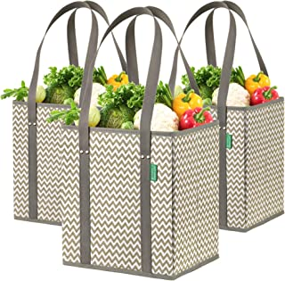 Reusable Grocery Shopping Box Bags (3 Pack) Premium Quality Tote Set with Extra Long Handles & Reinforced Sides. Foldable,...