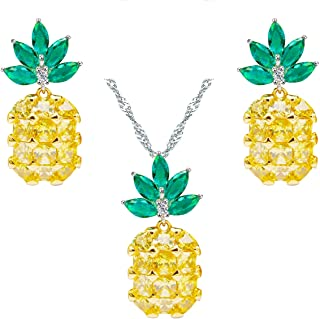 Uloveido Handcrafted Charm Pineapple Jewelry Set Fruit CZ Stone Necklace and Earrings PT001