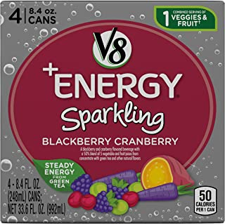 V8 +Energy Sparkling Healthy Energy Drink, Natural Energy from Tea, Blackberry Cranberry, 8.4 Fl Oz Can (6 Packs of 4, Total of 24)