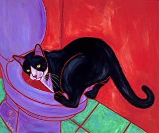 Aquatic Cat - Tuxedo Cat Bathroom Art, Warhol Inspired - Humorous Cats by Angela Bond