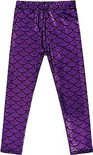 Girl's Glittery Mermaid Fish Scale Print Leggings Pants 4-6 Years