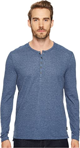 John Varvatos Star U.S.A. - Long Sleeve Henley w/ Coverstitch Detail K3459T4B
