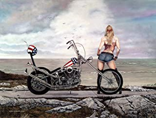 Motorcycle Art Print, Lady Biker with Easy Rider Harley Davidson Chopper, 18x24, Seascape, Hand Signed by Artist - Original Painting by John Guillemette