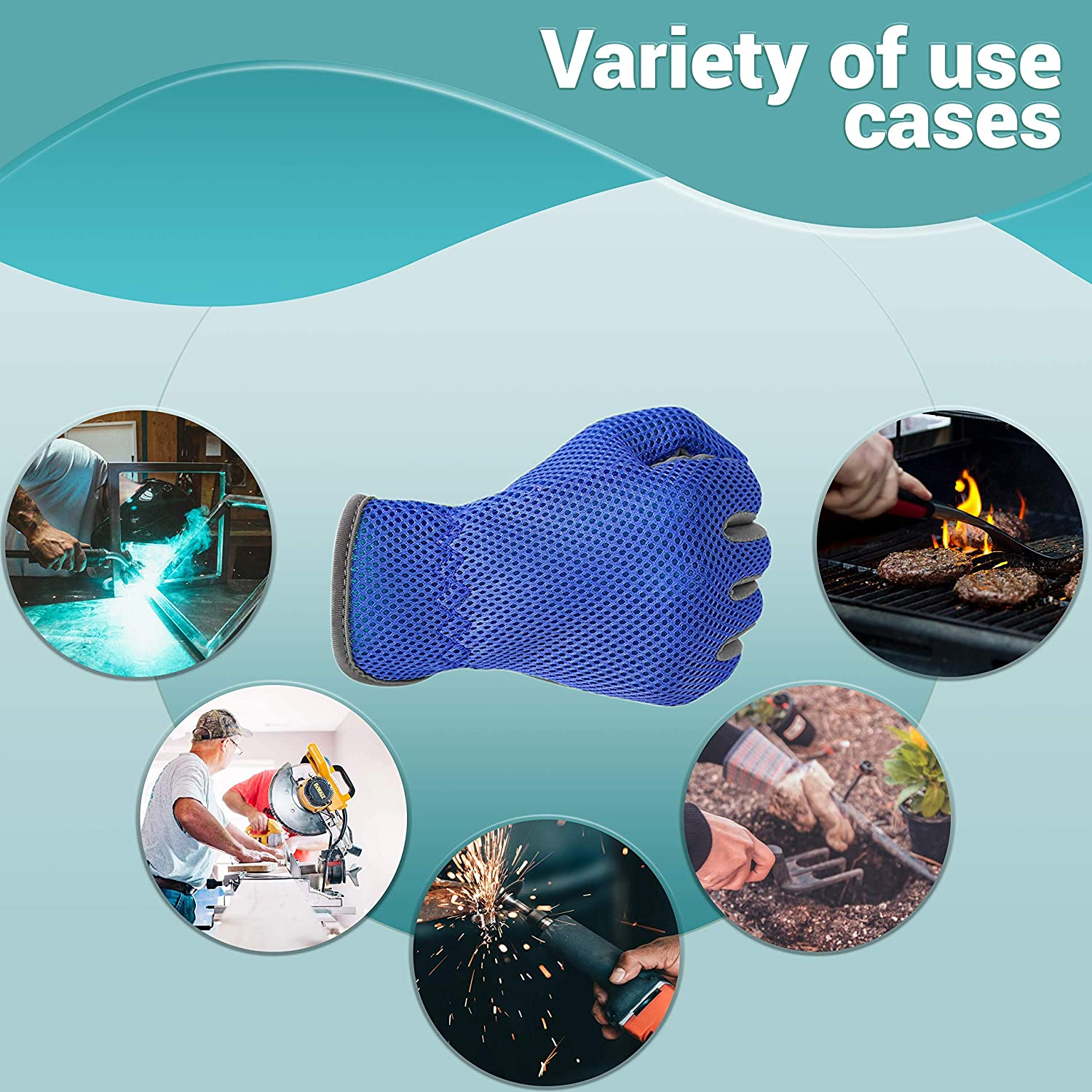 Protective Equipment Blue Heat-Resistant Workwear Gloves for Women ...