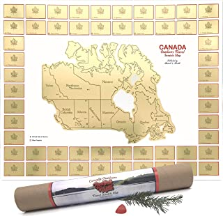 Scratch Map of Canada - Parks Journal for Backpacking, Camping. Cottagecore Decor to Show Where You Travel. Scratch Off Ca...