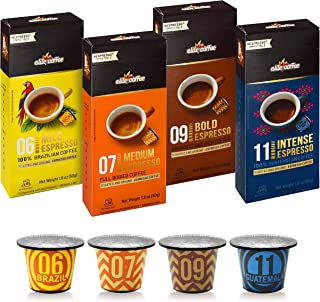 Elite Coffee Espresso Pods Nespresso Compatible Capsules | 40 Single Serve Espresso Pods Variety Pack | Fresh Single Source Ground Coffee Beans in 4 Strengths - Mild, Medium, Bold, and Intense