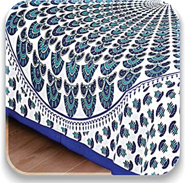 Bedsheets Cotton Peacock Feather Flat 144 TC Single bedsheet with Pillow Covers (Blue)