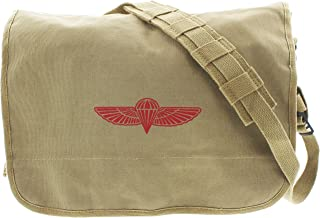 Khaki Retro Heavy Duty Canvas Israeli Paratrooper Messenger Bag Pin