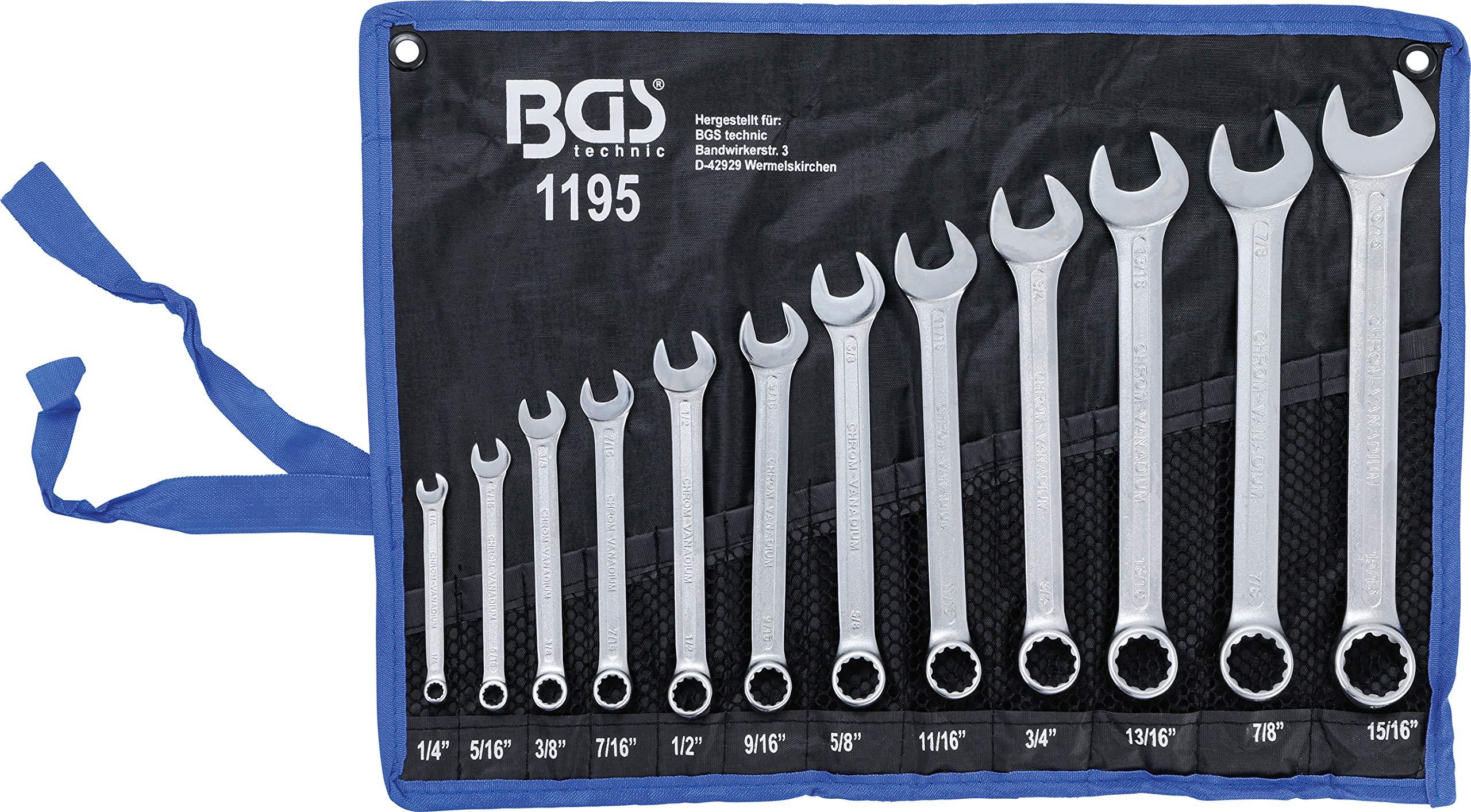 BGS 1195 | Juego de llaves combinadas | medidas en pulgadas | 1/4