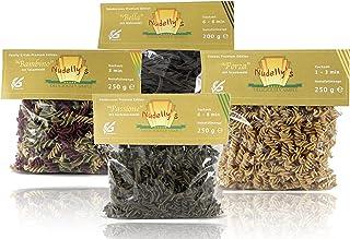 """Nudelly""""s Quattro Premium, glutenfreie Pasta im 4er-Pack, low-carb, paleo, Kürbiskernmehl, Sesammehl, Mohnmehl, Eier-Nudeln mit Tapioka-Stärke als Tagliatelle u. Fusilli"""