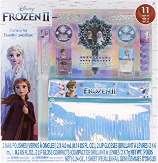 Townley Girl Frozen 2 Makeup Set with 11 Pieces, Including Lip Gloss, Nail Polish, Mirror, Gem Stickers and Fringe Hologra...