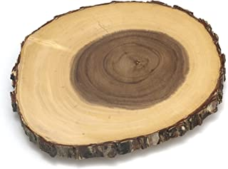Lipper International 1010 Acacia Tree Bark Footed Server for Cheese, Crackers, and Hors D'oeuvres, Small