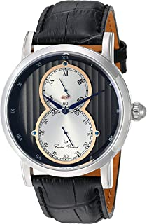 Lucien Piccard Men's 'Infinity' Quartz Stainless Steel and Leather  Watch, Color:Black (Model: LP-40044-01-RA)