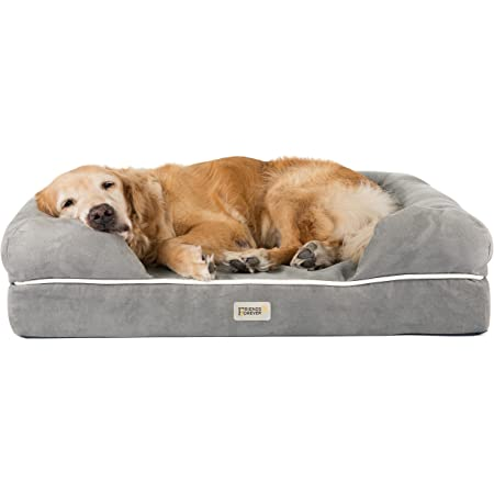 """Friends Forever Orthopedic Dog Bed Lounge Sofa Removable Cover 100% Suede 2.5""""-5"""" Mattress Memory-Foam Premium Prestige Edition"""