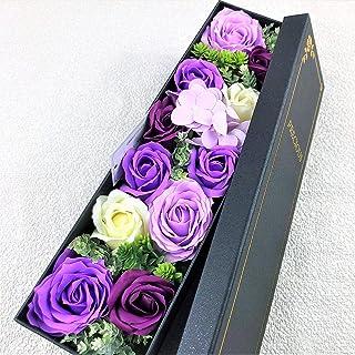【BIO】フレグランスソープフラワー 新商品 MサイズローズスリムBOX フタ付ボックス お祝い 記念日 お見舞い 母の日 父の日 (Mパープル)