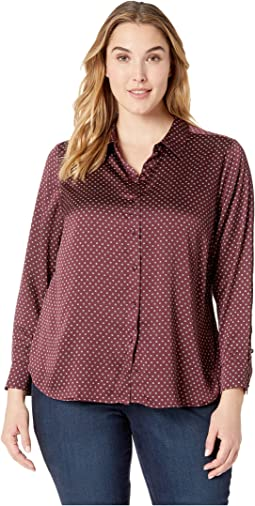 Plus Size Long Sleeve Trinket Geo Button Down Blouse