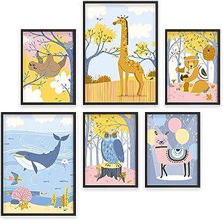 Photos pour la chambre de bébé - Lot de 6 posters d'animaux - Cadres photo A4 et A3 pour enfants - Tirages amusants et col...