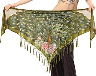 Tofern Tribal Style Peacock Triangle Beaded Fringe Belly Dance Hip Scarf Costume Shawl Wrap Belt with Tassel