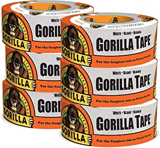 Gorilla 6010001 10yd White Duct Tape, 6-Pack