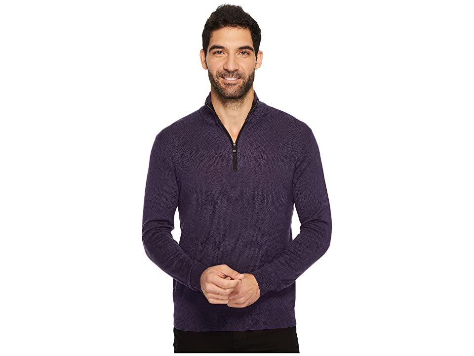 Calvin Klein Merino End on End 1/4 Zip Sweater (Black Amet Mouline) Men