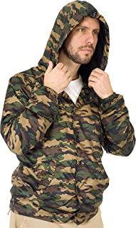 FLVFF Coach Jacket Hooded for Men Snap Front Windbreaker Lightweight Outerwear Casual Active Sports